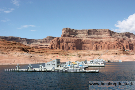 USA - Boat trip on Lake Powell to Rainbow Bridge, coming into Dangling Rope Marina