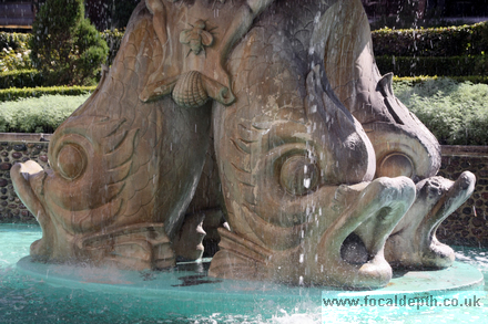 USA - Fountain with giant carved fish near Caesar's Palace, Las Vegas